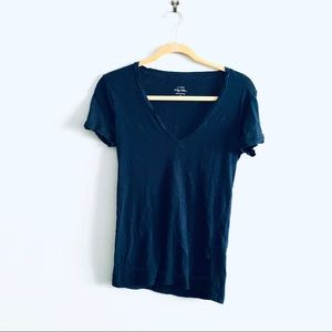 J Crew Navy Blue Vintage Cotton Vneck T-shirt Sz S